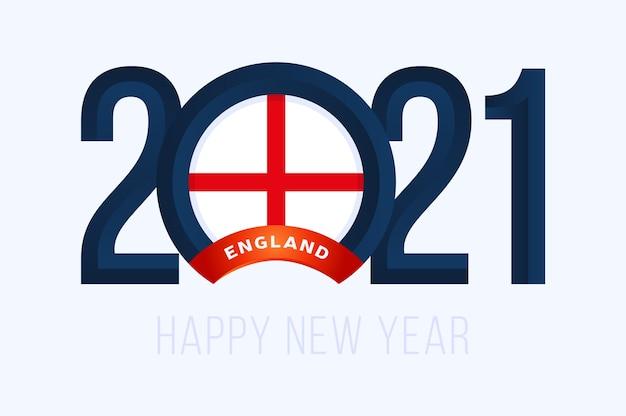 Год с флагом англии, изолированные на белом фоне