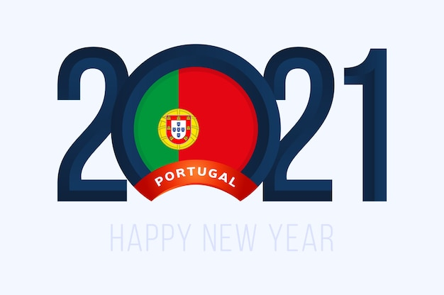 Year with portugal flag isolated on white