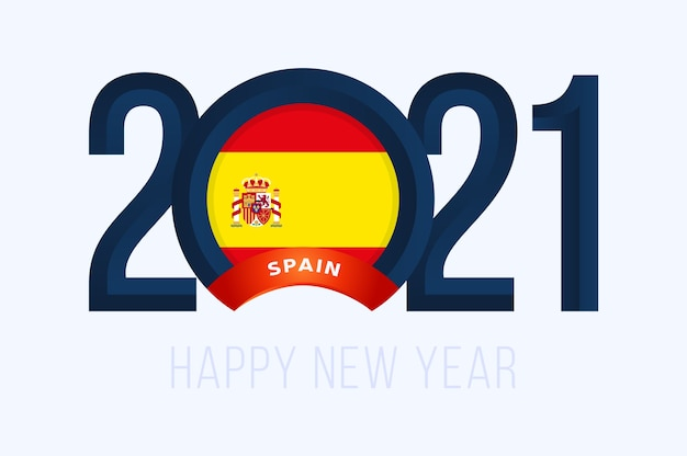 Year with spain flag isolated on white