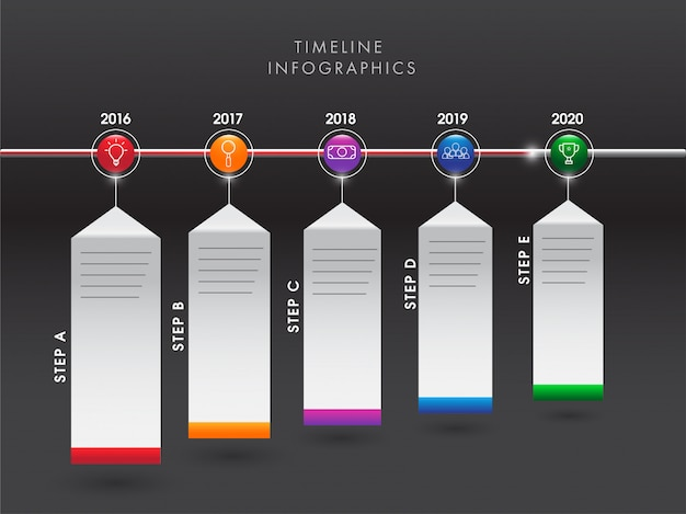 Yearly business growth or success concept timeline infographic e