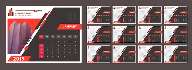 Yearly calendar design for 2019, decorated with abstract pattern