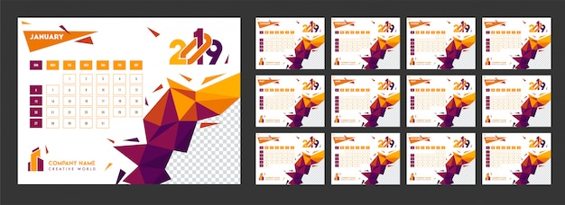 Yearly calendar design for 2019 with polygonal elements and spac