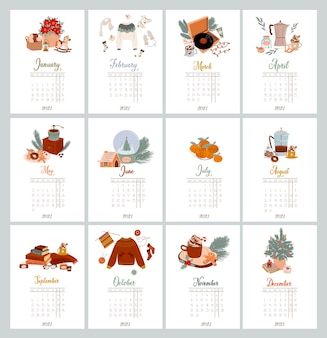 Yearly calendar and planner with all months wall calendar organizer and schedule christmas scandinavian illustration with hygge home decor