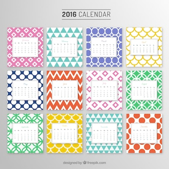 Yearly calendar with colorful patterns