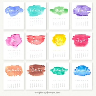 水彩汚れと年間カレンダー