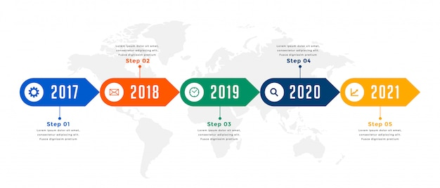 Yearly timeline infographic workflow business template design