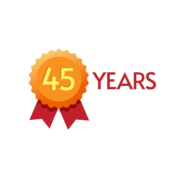 년 기념일 배지 평면 기호 일 또는 현대 황금 장미 상 디자인 45 생일 파티 유행 기호에 번호 하나 클립 아트 이미지