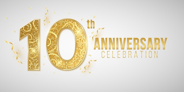 Years anniversary cover crafted from elegant golden numbers on a white background with falling confetti and tinsel. greeting card for birthday or wedding.