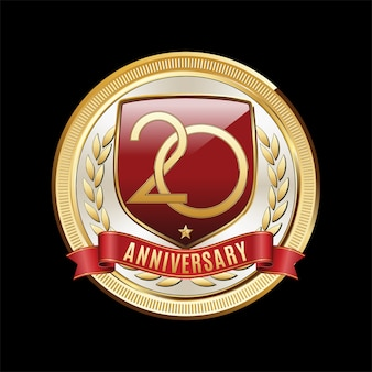 Years anniversary emblem isolated on black