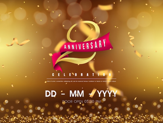 Years anniversary logo template on gold background.