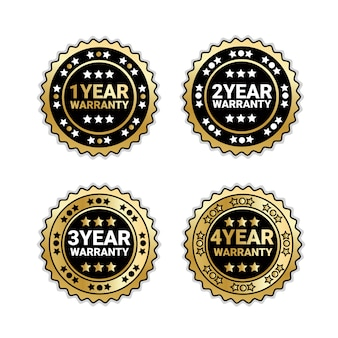 Years of warranty collection of badges isolated golden set