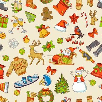 休日面白い写真。クリスマスのアイコンとのシームレスなパターンベクトル。クリスマスと新しいyeatの背景イラスト