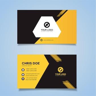 黄色のカラフルな名刺デザインのモックアップ無料ベクトル