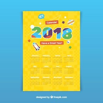Yellow 2018 calendar