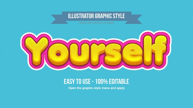 Yellow 3d bold cartoon text effect with pink stroke padding