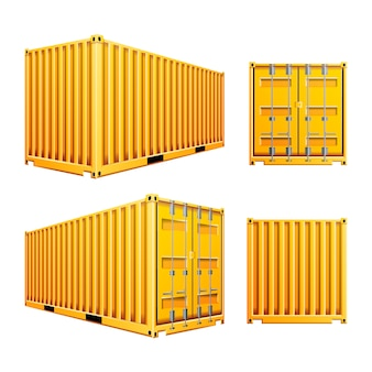 Yellow 3d cargo container