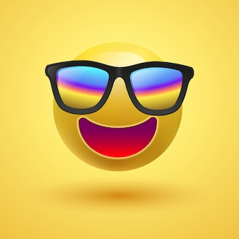 Yellow 3d cute smiley with sunglasses on yellow background,  illustration.