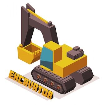 노란색 3d 굴삭기 기계
