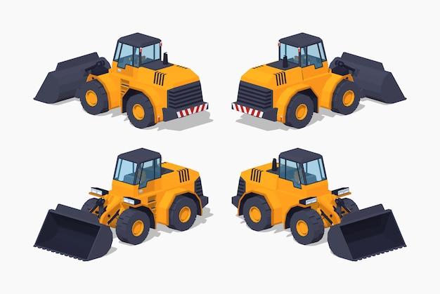 Yellow 3d lowpoly isometric heavy bulldozer