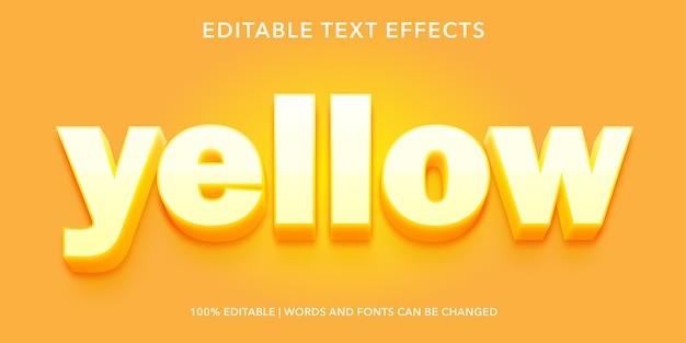 黄色の3dスタイルの編集可能なテキスト効果