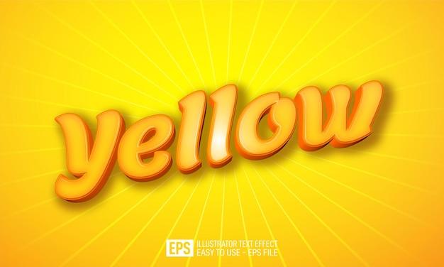 노란색 3d 텍스트 편집 가능한 스타일 효과 템플릿