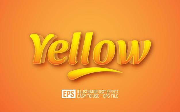黄色の3dテキスト編集可能なスタイル効果テンプレート