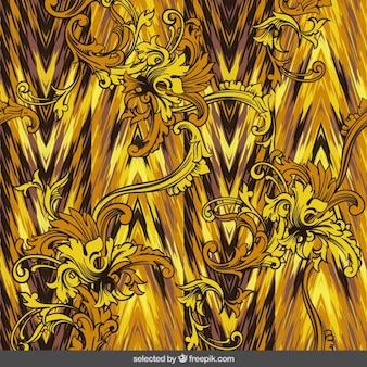 Sfondo giallo in stile ornamentale