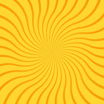 Yellow abstract background with radial rays, lines or stripes curving or swirling around center. square backdrop with rotating illusion or dizzy effect. bright colored modern vector illustration.