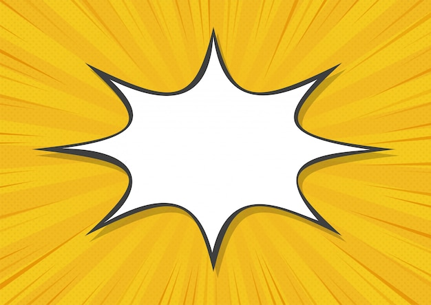 Yellow abstract comic book background cartoon style. bigbamm or sunlight. vector illustration.