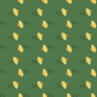 黄色の抽象的な小さなデイジーの花のヴィンテージスタイルのシームレスなパターン
