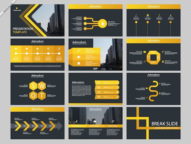 Yellow abstract presentation templates infographic