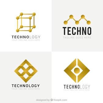Yellow abstract tecnological logos Premium Vector