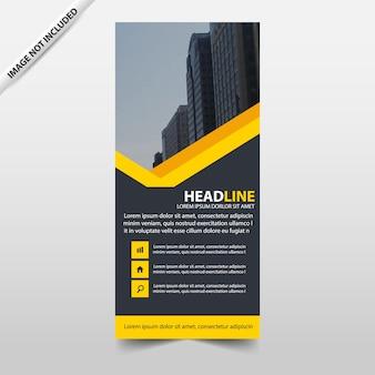 黄色の抽象的な三角形ビジネスロールアップバナーフラットデザインテンプレート