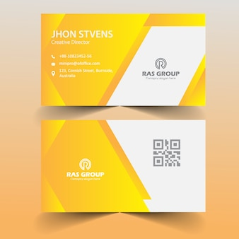 Yellow Abstract Visiting Card for Office