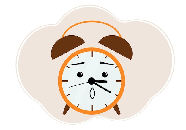 Yellow alarm clock illustration with surprise and shock emotion