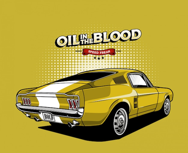 Yellow american muscle car