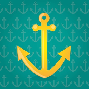 Yellow anchor over green background vector illlustration