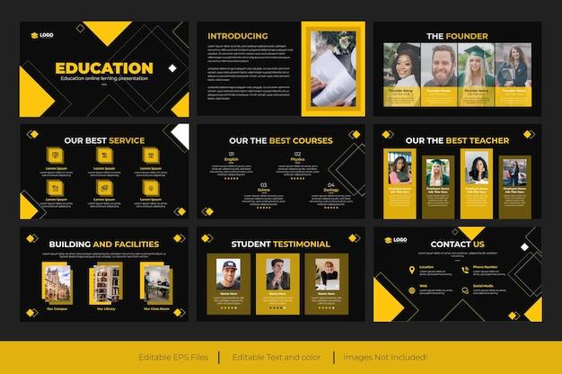 黄色とバックカラーの教育powerpointプレゼンテーションスライドタンプレートデザイン