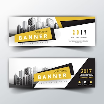 Yellow and black back and front banner templates