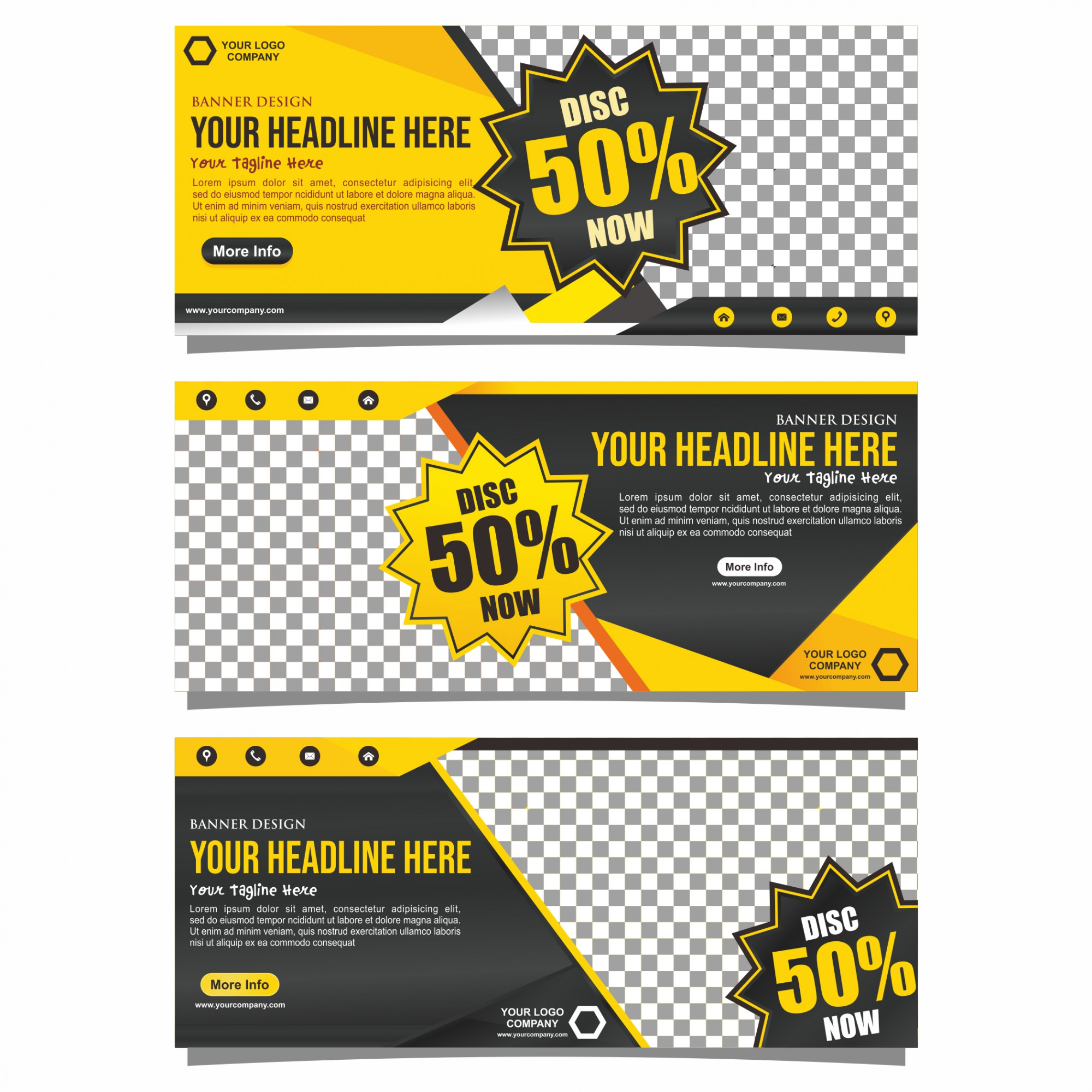 Yellow and black business banner design