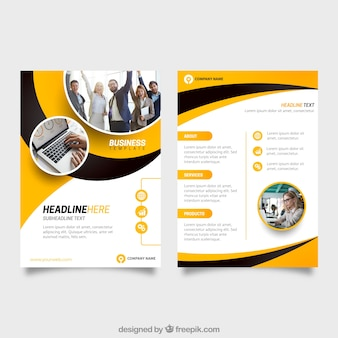 Brochure vectors photos and psd files free download yellow and black business flyer template maxwellsz