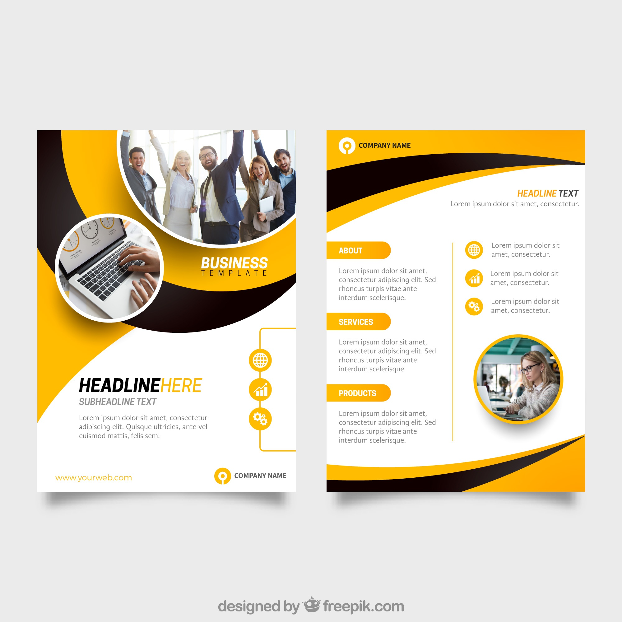 Templates vectors 247300 free files in eps format yellow and black business flyer template wajeb Gallery