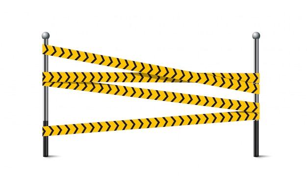 금속 기둥에 노란색과 검은 색 건설 또는 경고 테이프