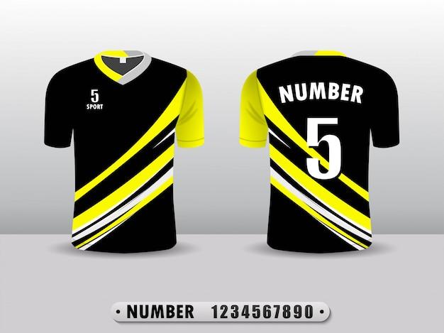黄色と黒のサッカークラブtシャツスポーツ