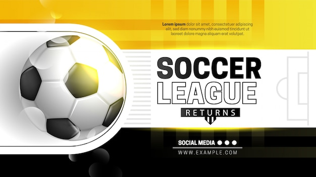 黄色と黒のサッカーリーグテンプレート