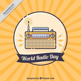 世界ラジオの日のための黄色と青の背景
