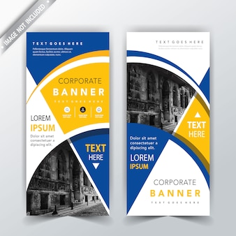 Yellow and blue banner card