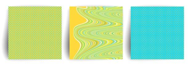 노란색과 파란색 색상은 표지 디자인을 추상화합니다. 트렌디한 기하학적 포스터입니다.