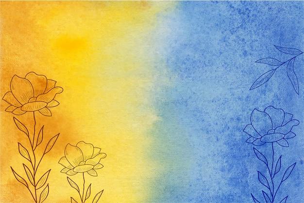 손으로 그린 꽃과 노란색과 파란색 수채화 배경