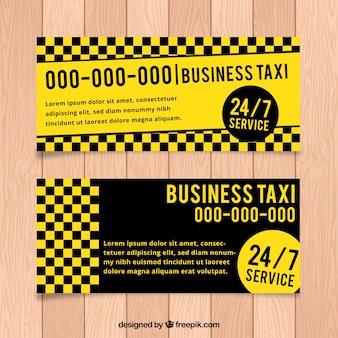 노란색과 어두운 택시 배너